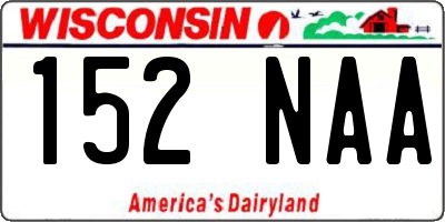 WI license plate 152NAA