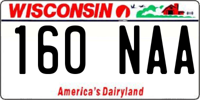 WI license plate 160NAA