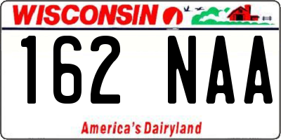WI license plate 162NAA