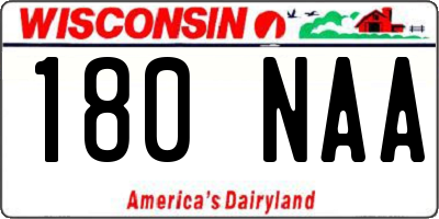 WI license plate 180NAA