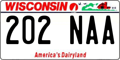 WI license plate 202NAA