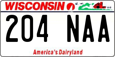 WI license plate 204NAA