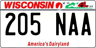 WI license plate 205NAA