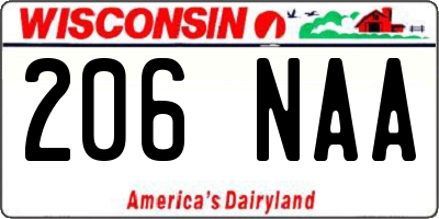 WI license plate 206NAA