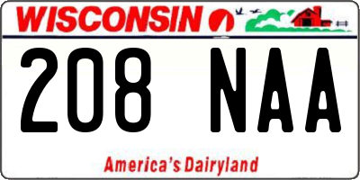 WI license plate 208NAA
