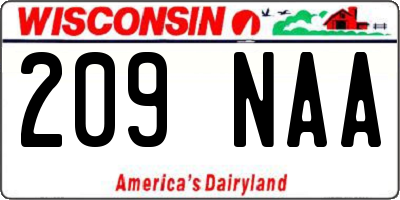 WI license plate 209NAA
