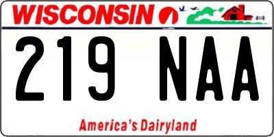 WI license plate 219NAA