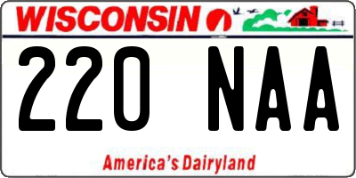 WI license plate 220NAA