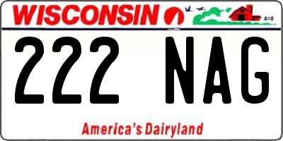 WI license plate 222NAG