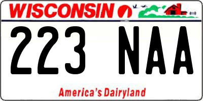 WI license plate 223NAA