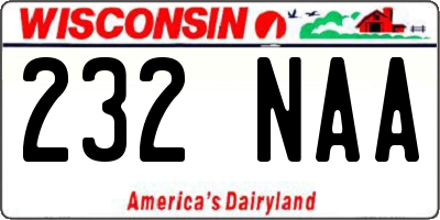 WI license plate 232NAA