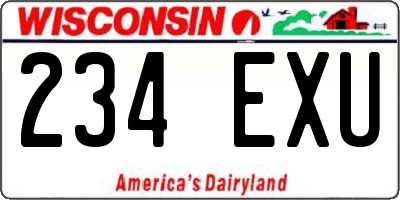 WI license plate 234EXU