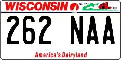 WI license plate 262NAA