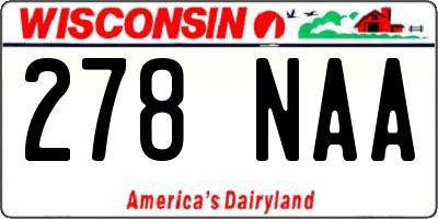WI license plate 278NAA
