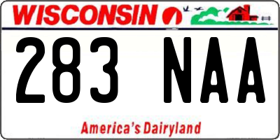 WI license plate 283NAA