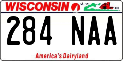 WI license plate 284NAA