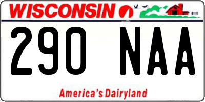 WI license plate 290NAA