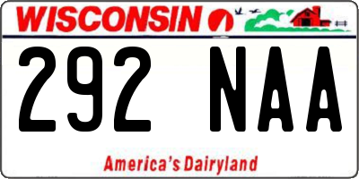 WI license plate 292NAA