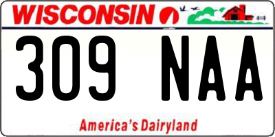 WI license plate 309NAA