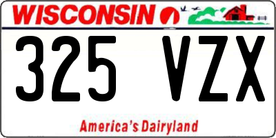 WI license plate 325VZX