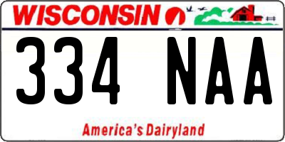WI license plate 334NAA