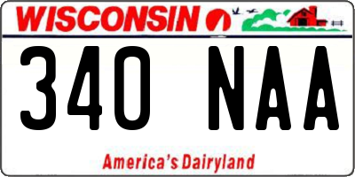 WI license plate 340NAA