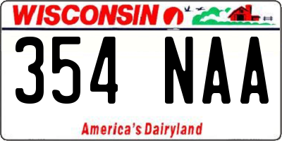 WI license plate 354NAA