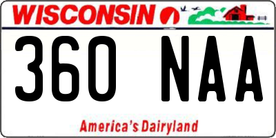 WI license plate 360NAA