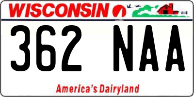 WI license plate 362NAA