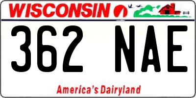 WI license plate 362NAE