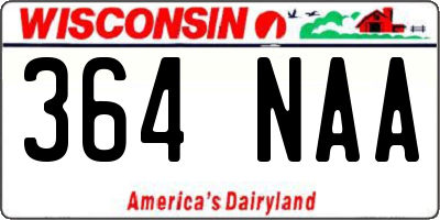 WI license plate 364NAA
