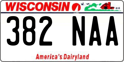 WI license plate 382NAA