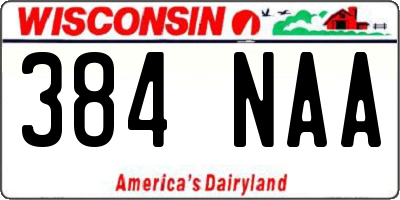 WI license plate 384NAA