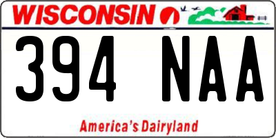 WI license plate 394NAA