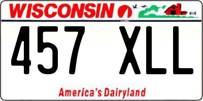 WI license plate 457XLL