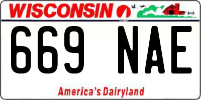 WI license plate 669NAE