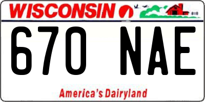 WI license plate 670NAE
