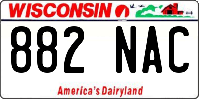 WI license plate 882NAC