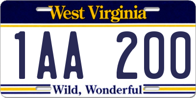 WV license plate 1AA200