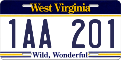 WV license plate 1AA201