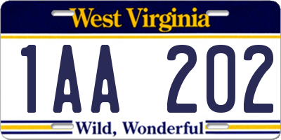 WV license plate 1AA202