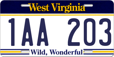 WV license plate 1AA203