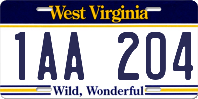 WV license plate 1AA204