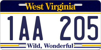 WV license plate 1AA205