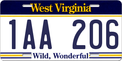 WV license plate 1AA206