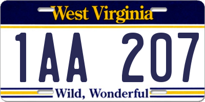 WV license plate 1AA207