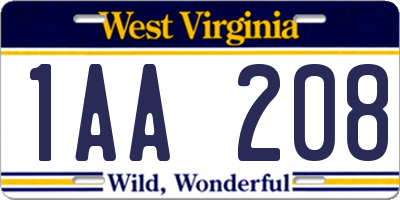 WV license plate 1AA208
