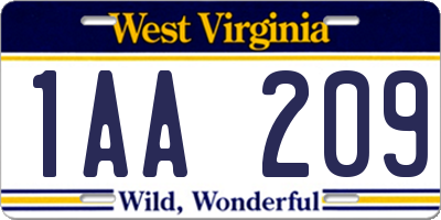 WV license plate 1AA209