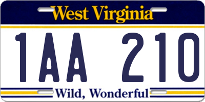 WV license plate 1AA210