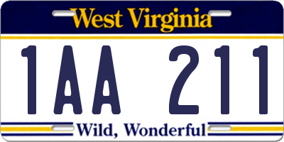 WV license plate 1AA211